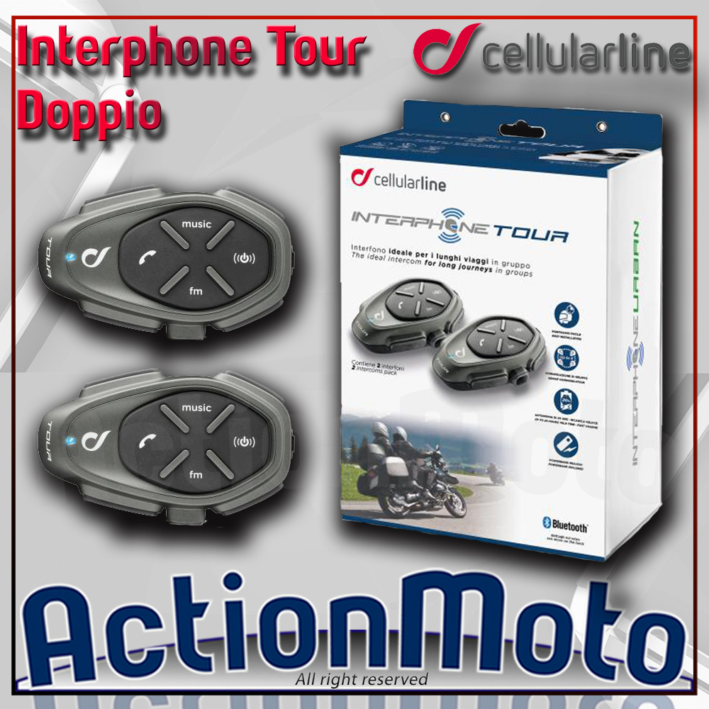 CELLULAR LINE INTERPHONE TOUR COPPIA INTERFONO MOTO SCOOTER BLUETOOTH