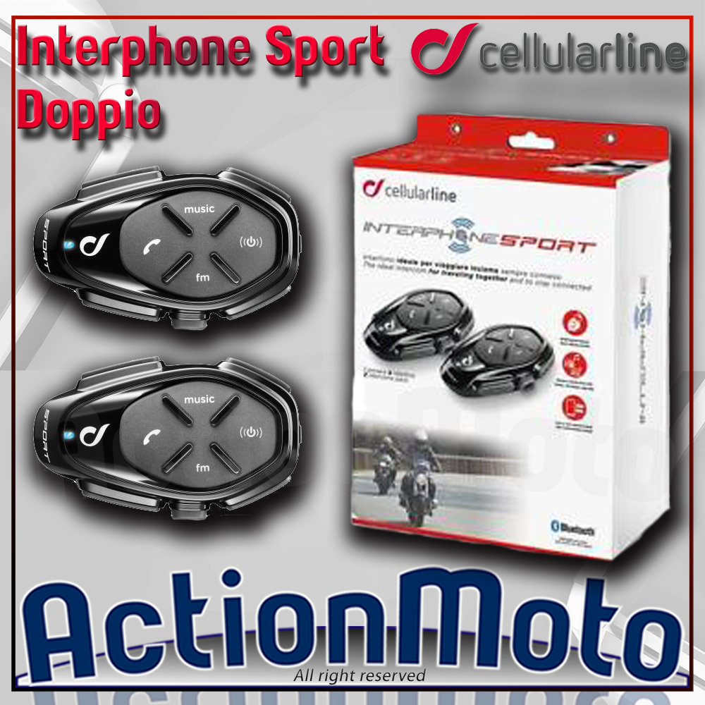 CELLULAR LINE INTERPHONE SPORT COPPIA INTERFONO MOTO SCOOTER BLUETOOTH