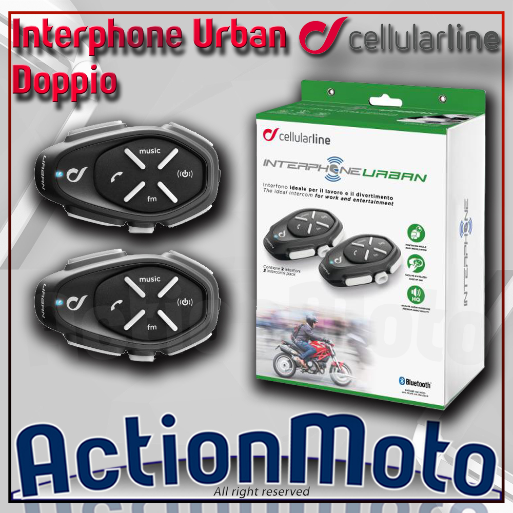 CELLULAR LINE INTERPHONE URBAN COPPIA INTERFONO MOTO SCOOTER BLUETOOTH