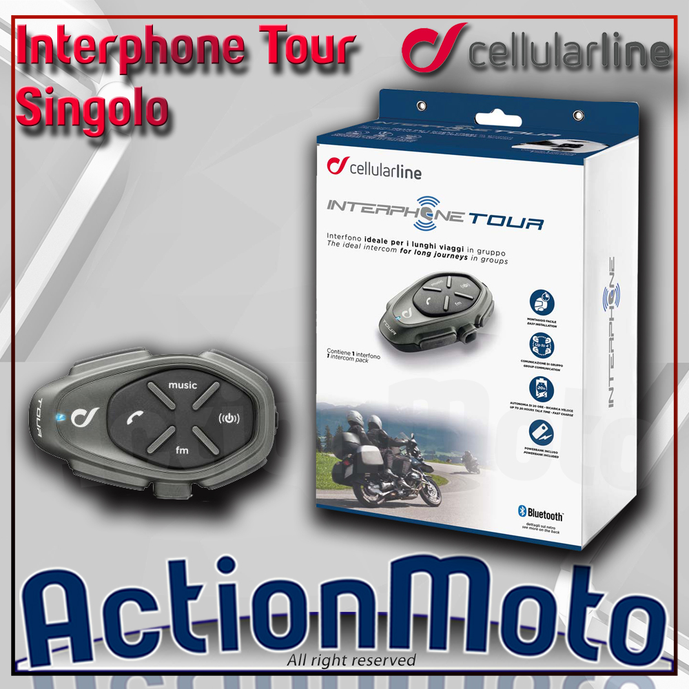 CELLULAR LINE INTERPHONE TOUR SINGOLO INTERFONO MOTO SCOOTER BLUETOOTH
