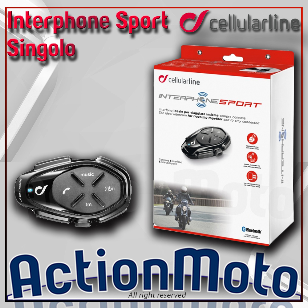CELLULAR LINE INTERPHONE SPORT SINGOLO INTERFONO MOTO SCOOTER BLUETOOTH