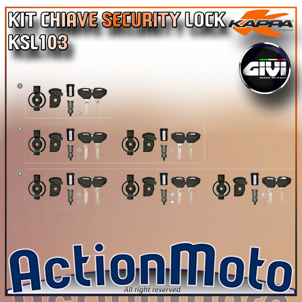 Kit chiave Security Lock bauletto valigie Kappa KSL103 K49 K46 K47 K53 KGR