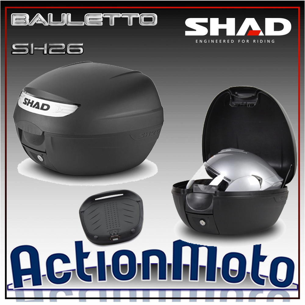 Bauletto top case Shad SH26 26 Litri Press Lock System moto scooter