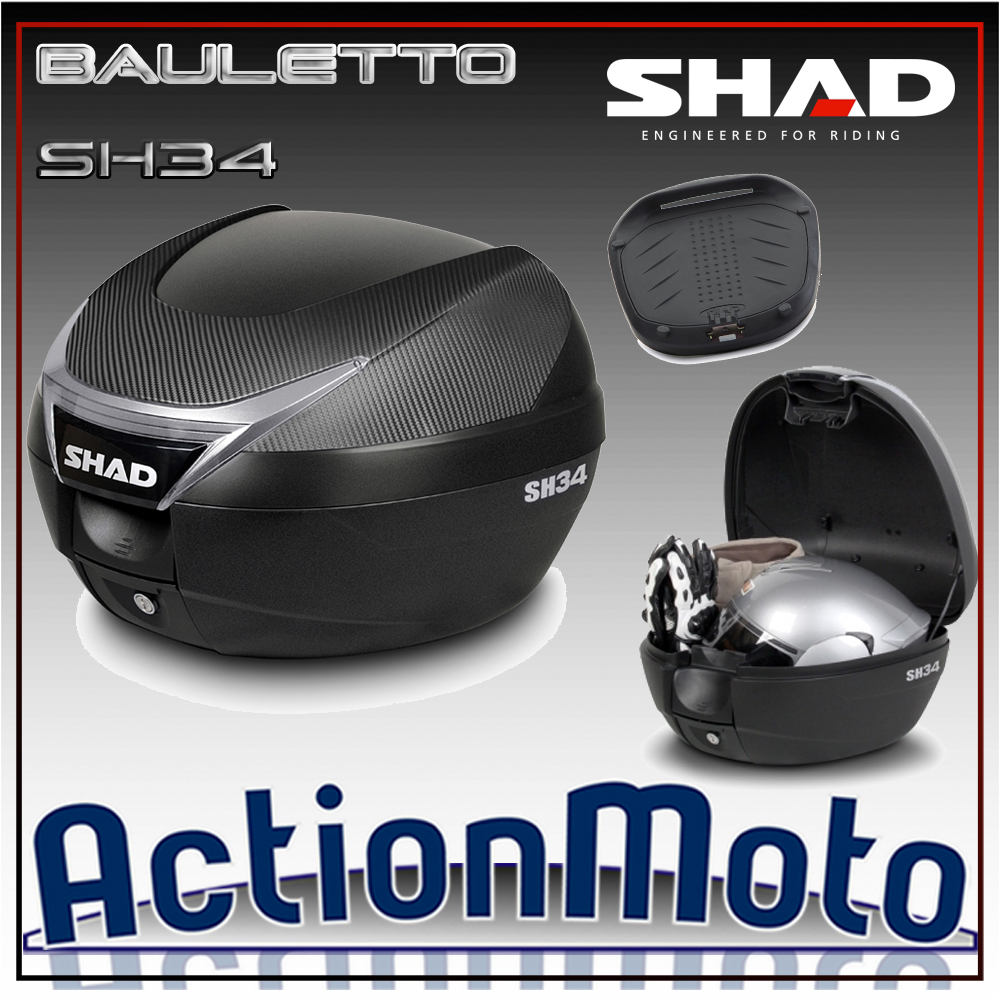 Bauletto top case Shad SH34 34 Litri Press Lock System moto scooter