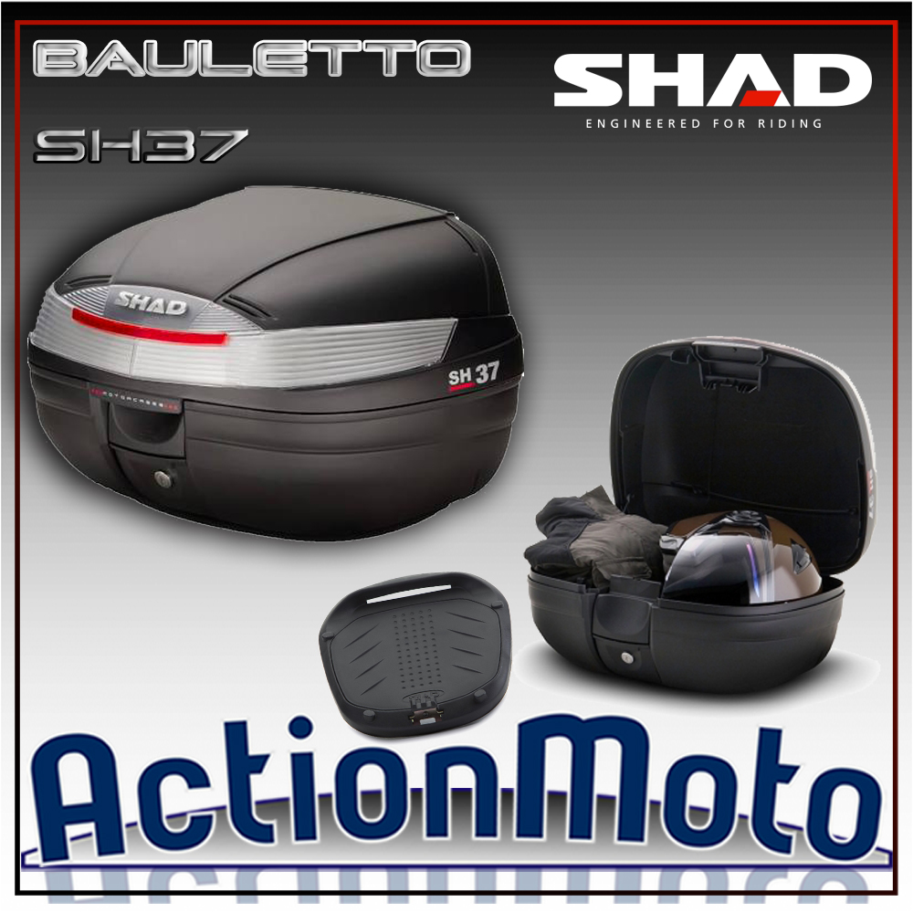 Bauletto top case Shad SH37 37 Litri Press Lock System moto scooter