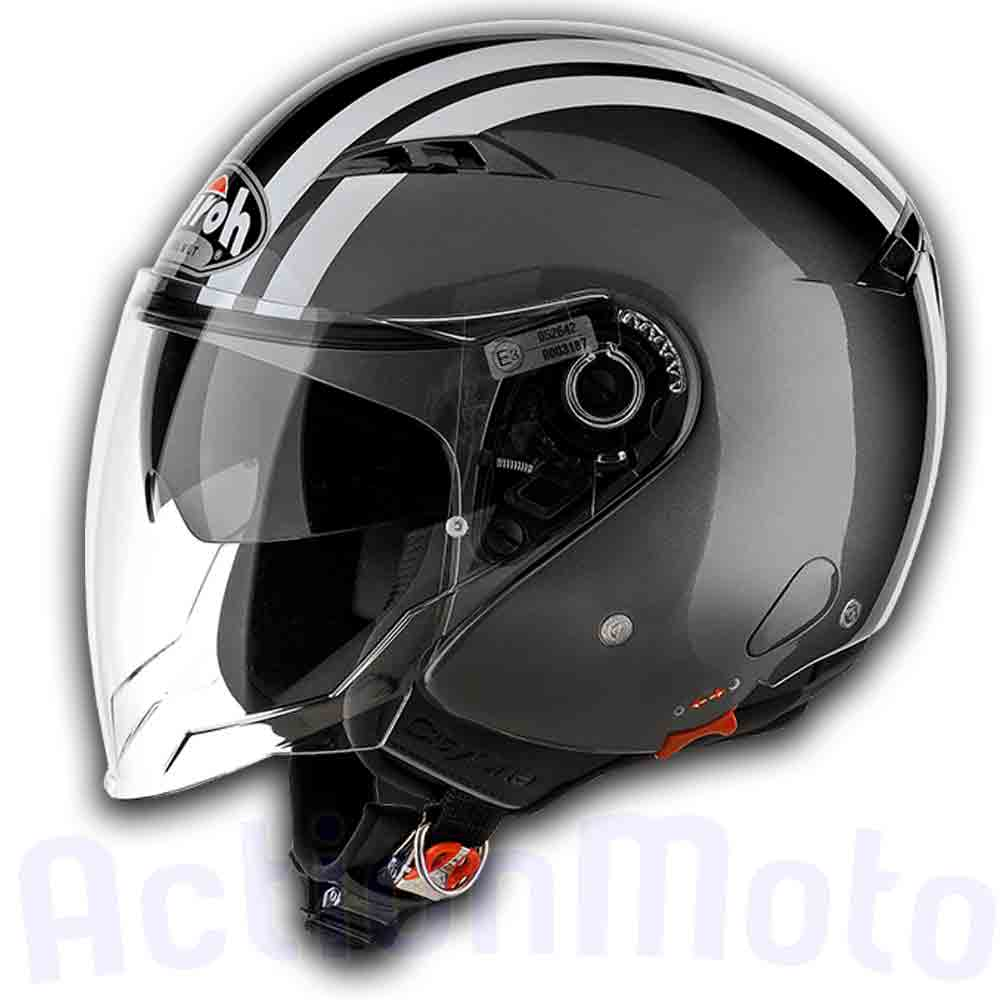Casco Helmet Jet Airoh City One Flash Anthracite Gloss Antracite moto scooter