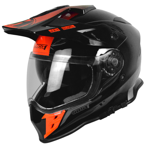 Casco moto touring tourer motard Just1 one J34 Shape Neon Red enduro