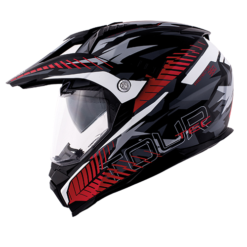 Casco Helmet Integrale Enduro Kappa KV30 ENDURO Adventure Tour camo rosso nero