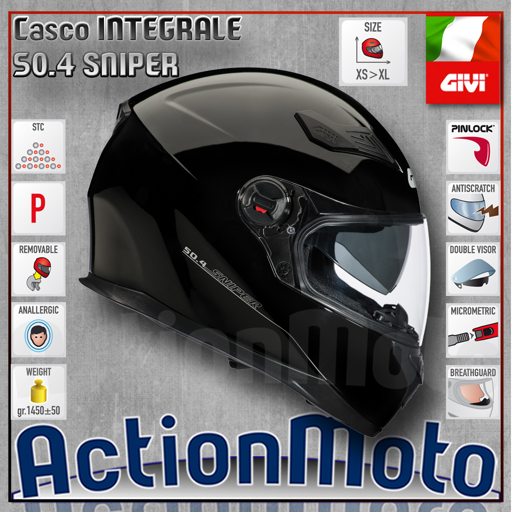 Casco-Helmet-Casque-GIVI-Full-Face-Integrale-50-4-Sniper-Moto-Scooter