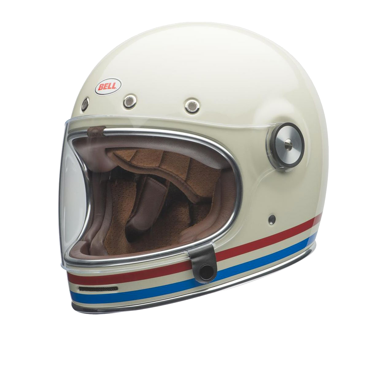 Casco helmet Bell Integrale BULLITT DLX STRIPES PEARL WHITE Cafe' Race