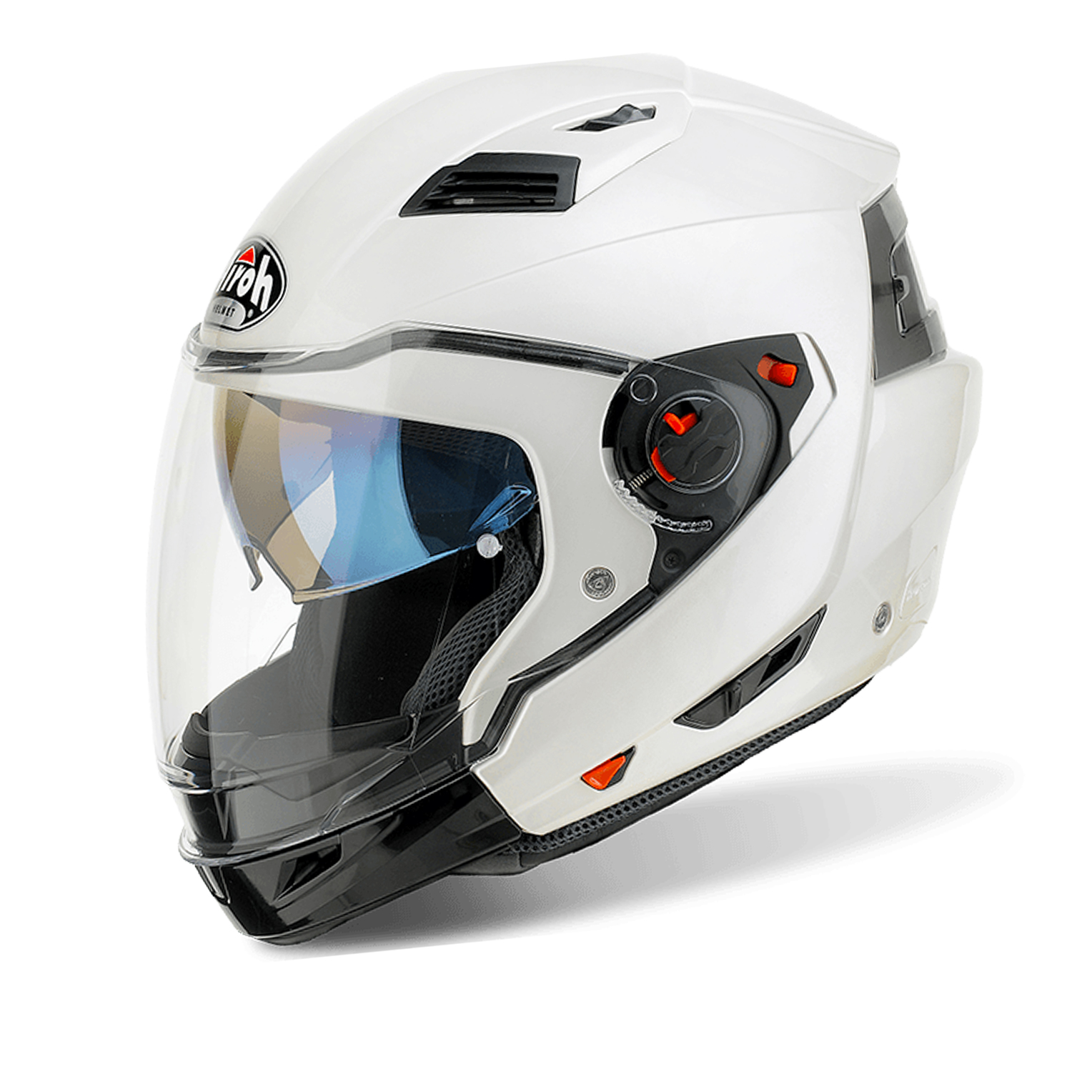 Casco helmet Airoh Flip Up Apribile Modulare Executive Color White Gloss moto