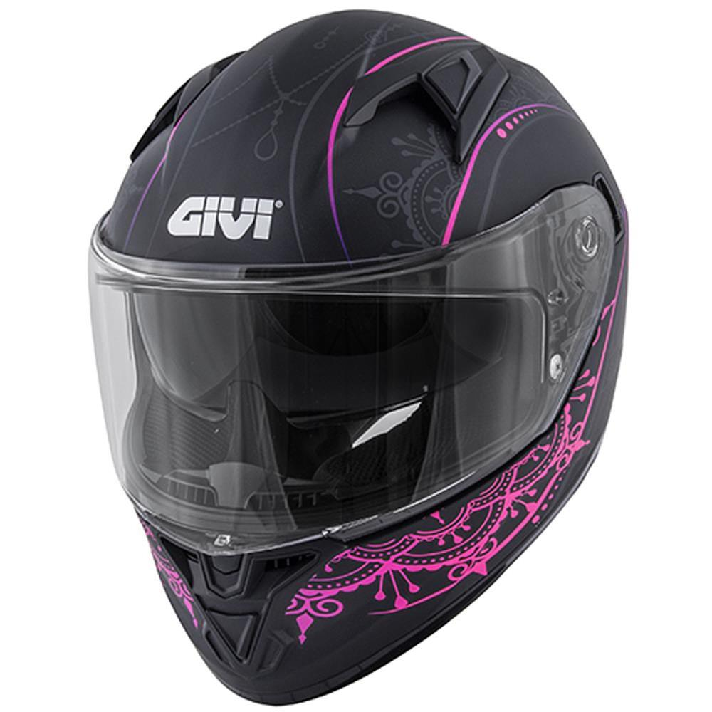 Casco Integrale in Fibra 50.6 Stoccarda Nero-Rosa