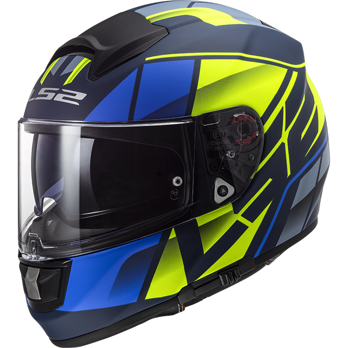 LS2 Casco Integrale Vector FT2 Kripton Blu Giallo Neon Opaco