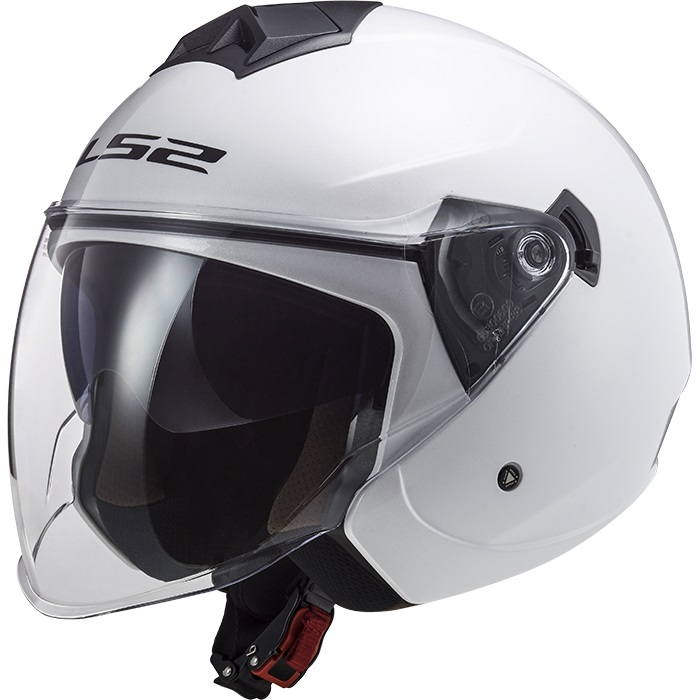 Casco Jet LS2 Twister II OF573 Single Mono Bianco Lucido
