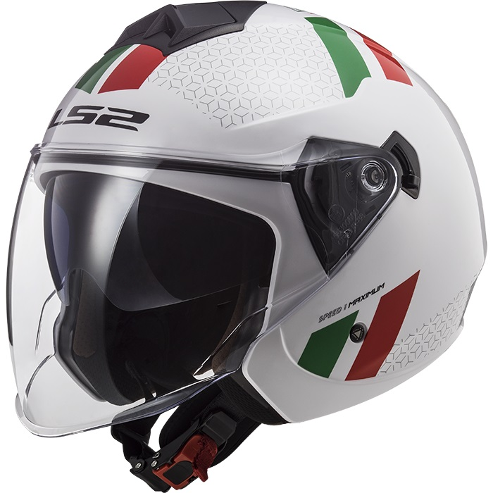 Casco Jet LS2 Twister 2 OF573 Combo Bianco Verde Rosso Lucido