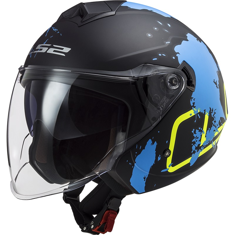 Casco Jet LS2 Twister 2 OF573 Xover Nero Blu Opaco