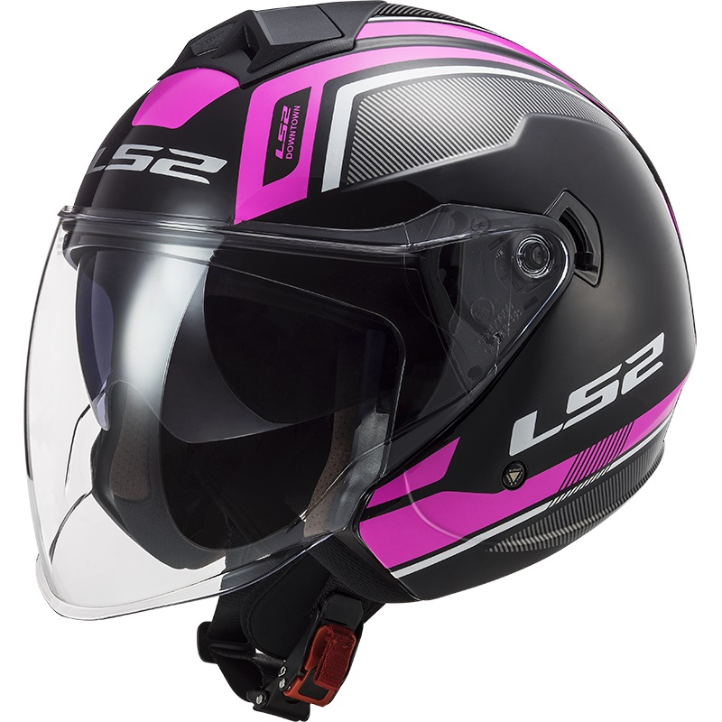 Casco Jet LS2 Twister 2 OF573 Flix Nero Viola Lucido