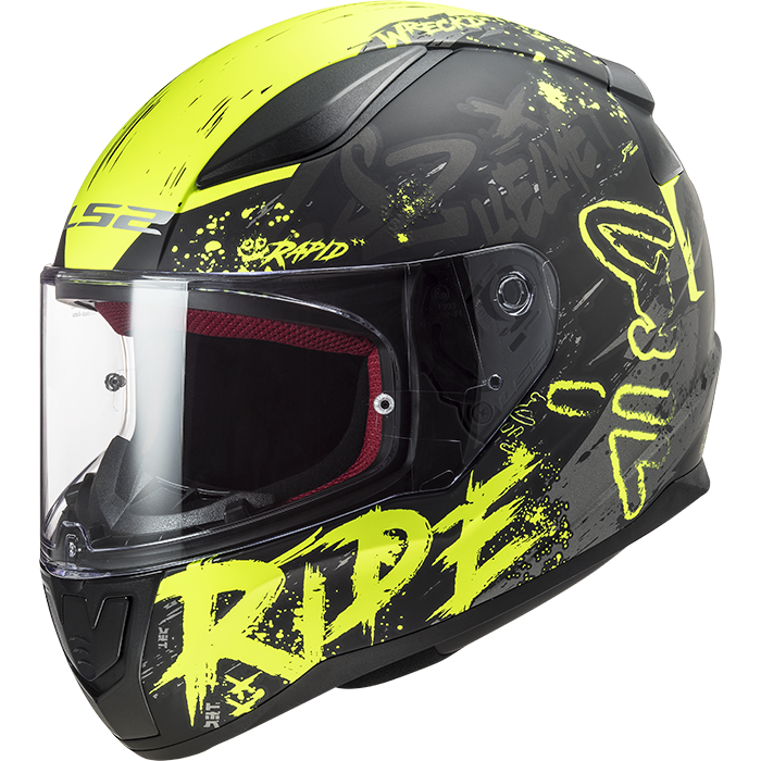 Casco Integrale LS2 Rapid Naughty Matt Black H-V Yellow FF353