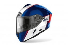 Casco Integrale Airoh  Spark Flow Blu Rosso Bianco Lucido