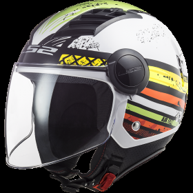 Casco Jet LS2 AIRFLOW RONNIE Bianco Verde Lucido OF562